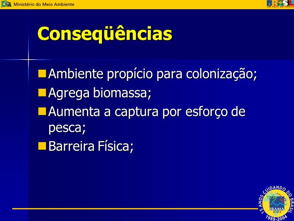 Conseqüências Ambiente propício para colonização; Agrega biomassa;