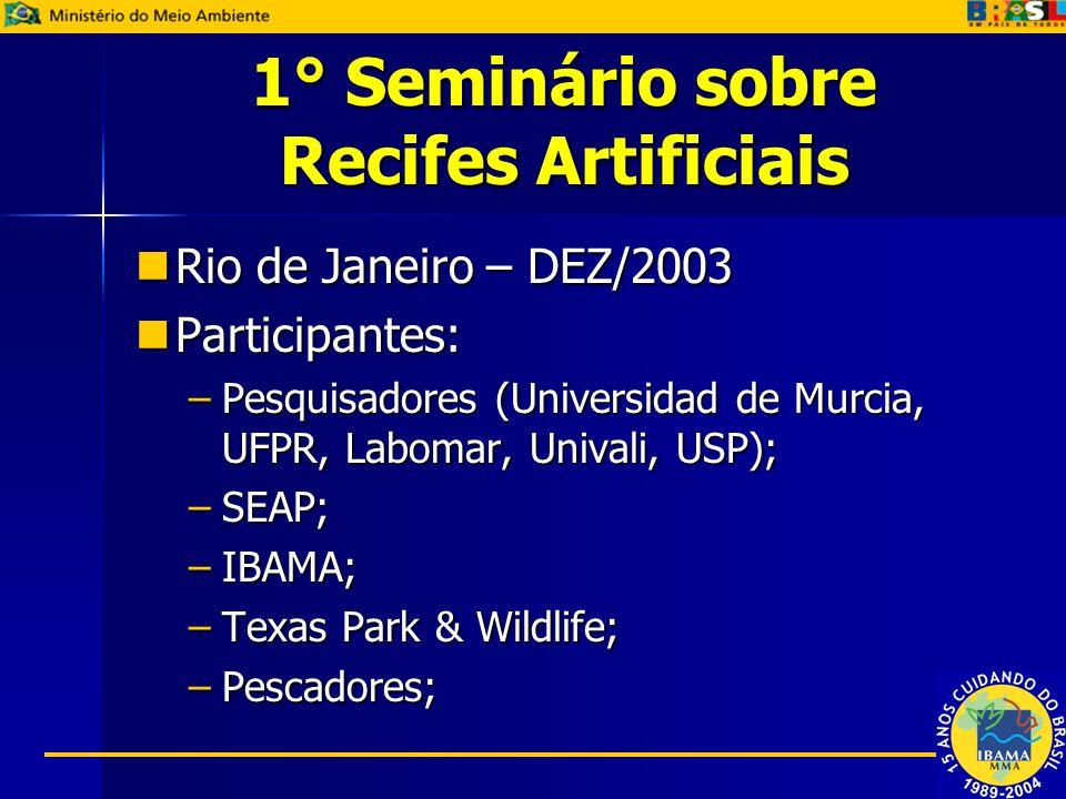 1° Seminário sobre Recifes Artificiais