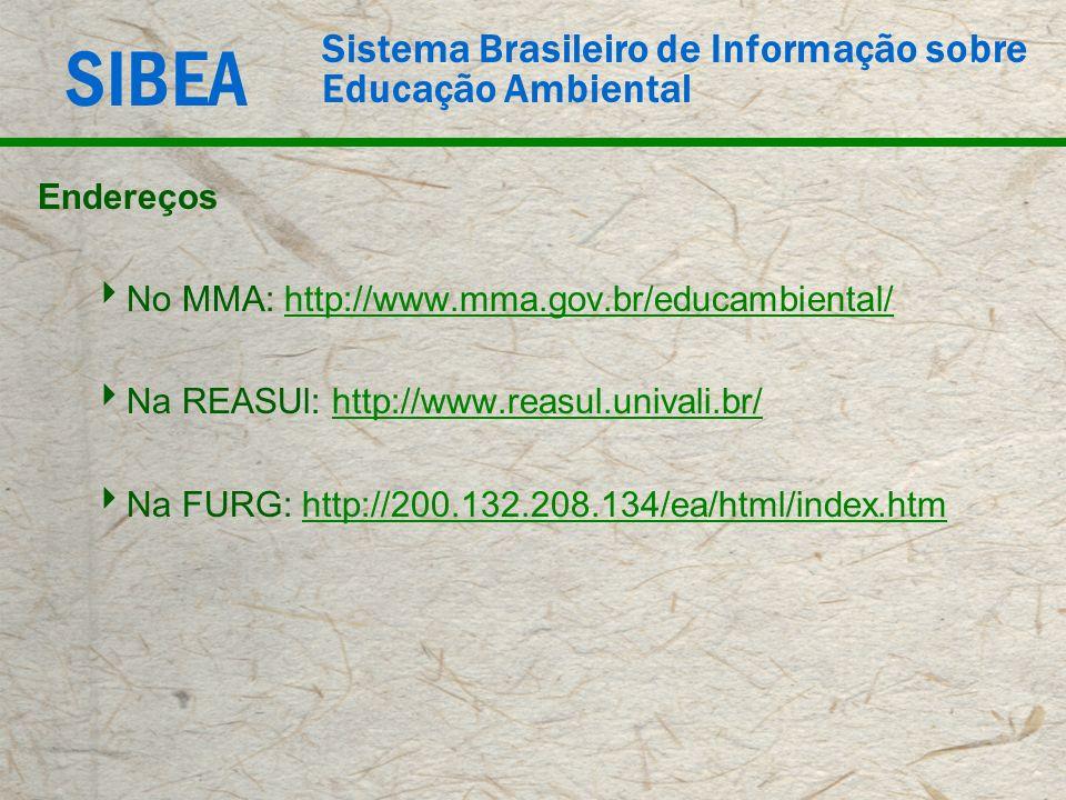 EndereçosNo MMA: http://www.mma.gov.br/educambiental/ Na REASUl: http://www.reasul.univali.br/ Na FURG: http://200.132.208.134/ea/html/index.htm.