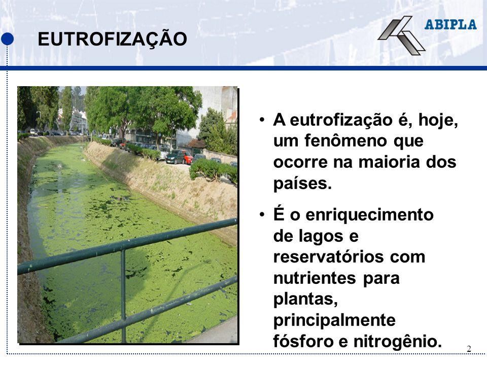 EUTROFIZAÇÃO A eutrofização é, hoje, um fenômeno que ocorre na maioria dos países.