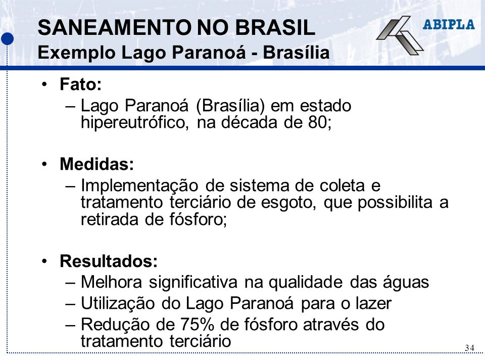 SANEAMENTO NO BRASIL Exemplo Lago Paranoá - Brasília