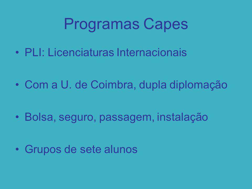 Programas Capes PLI: Licenciaturas Internacionais