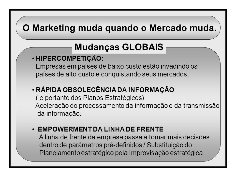 O Marketing muda quando o Mercado muda.