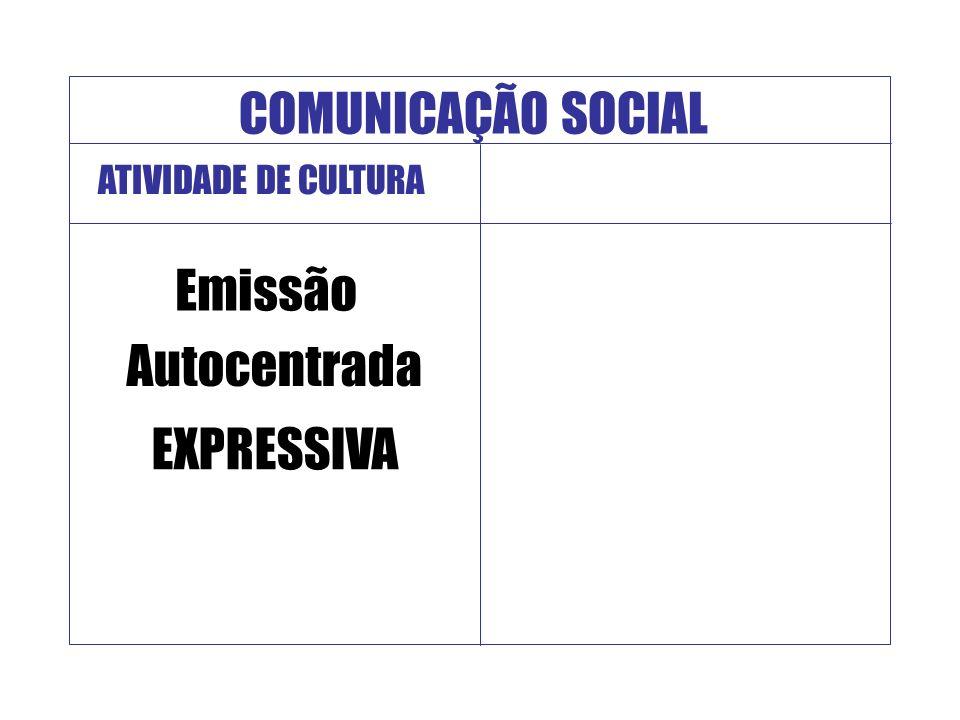 COMUNICAÇÃO SOCIAL Emissão Autocentrada EXPRESSIVA