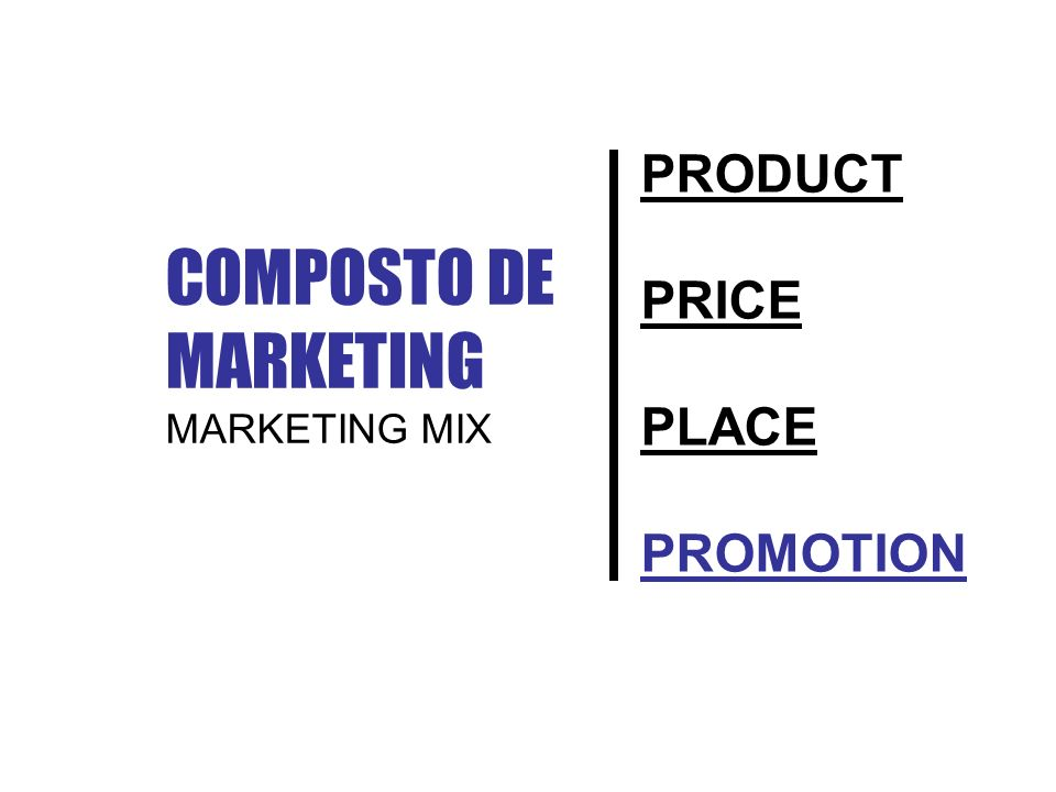 PRODUCT PRICE PLACE PROMOTION COMPOSTO DE MARKETING MARKETING MIX
