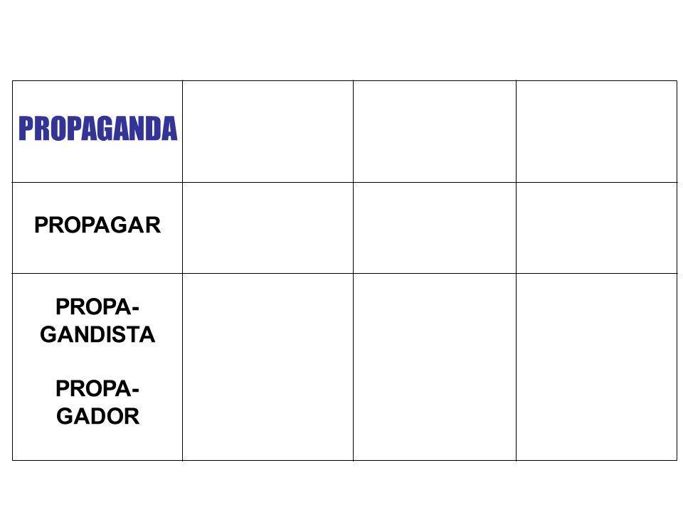 PROPAGANDA PROPAGAR PROPA- GANDISTA GADOR