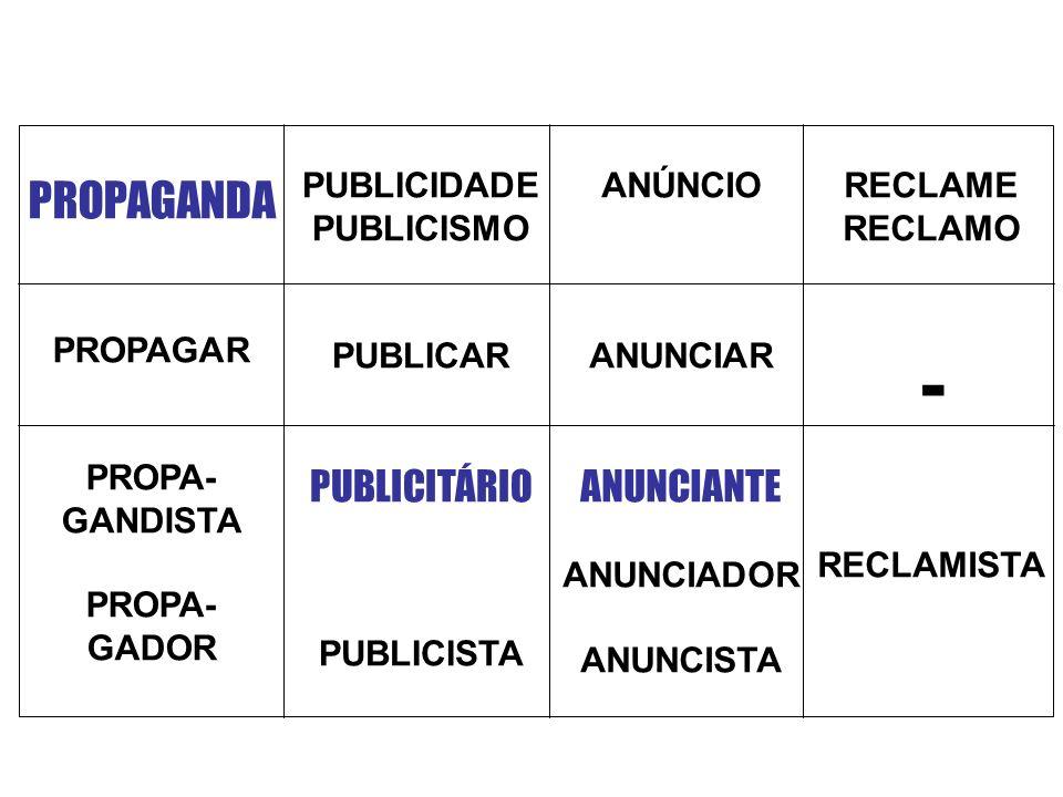 - PROPAGANDA PUBLICITÁRIO ANUNCIANTE PUBLICIDADE PUBLICISMO PUBLICAR