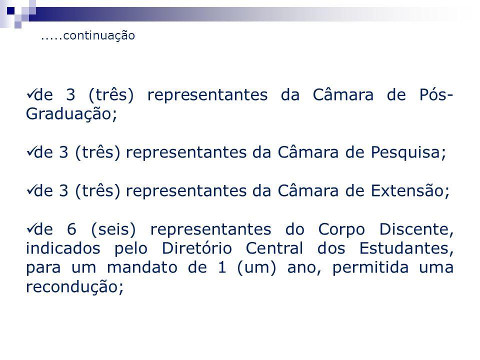 de 3 (três) representantes da Câmara de Pós-Graduação;