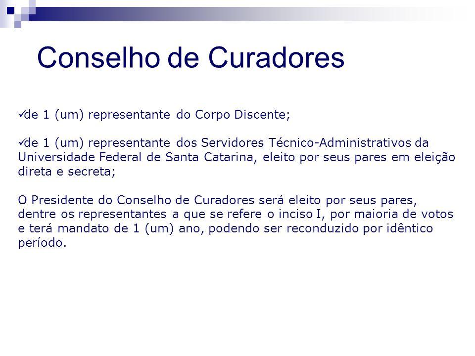 Conselho de Curadores de 1 (um) representante do Corpo Discente;