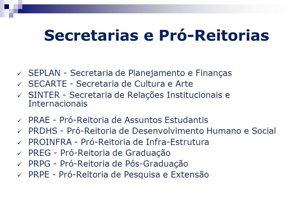 Secretarias e Pró-Reitorias