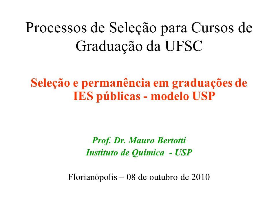 Processos de Seleção para Cursos de Graduação da UFSC