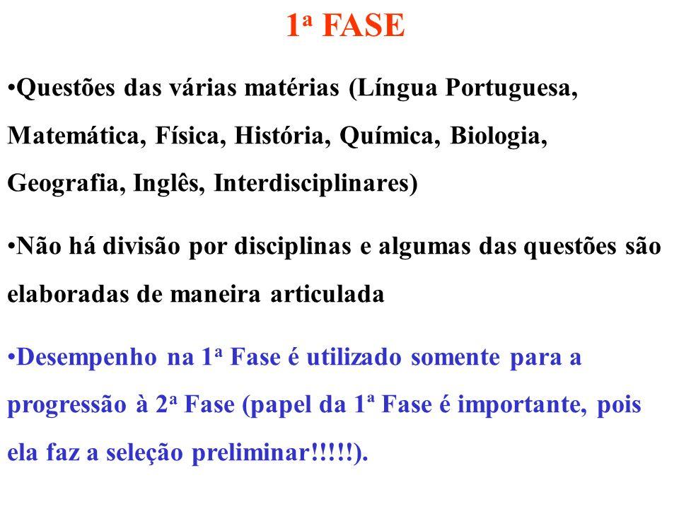1a FASE Questões das várias matérias (Língua Portuguesa, Matemática, Física, História, Química, Biologia, Geografia, Inglês, Interdisciplinares)