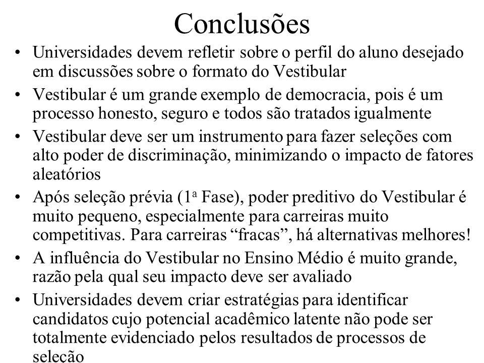 Conclusões Universidades devem refletir sobre o perfil do aluno desejado em discussões sobre o formato do Vestibular.