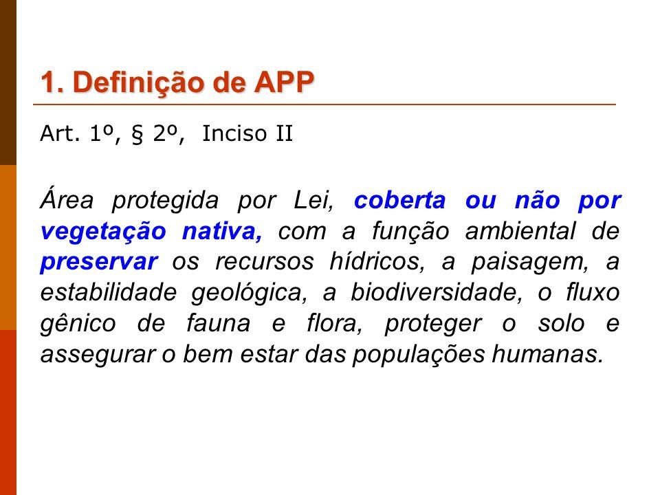 1. Definição de APPArt. 1º, § 2º, Inciso II.