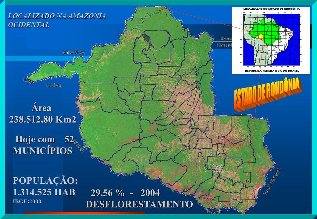 ESTADO DE RONDÔNIA Área 238.512,80 Km2 Hoje com 52 MUNICÍPIOS