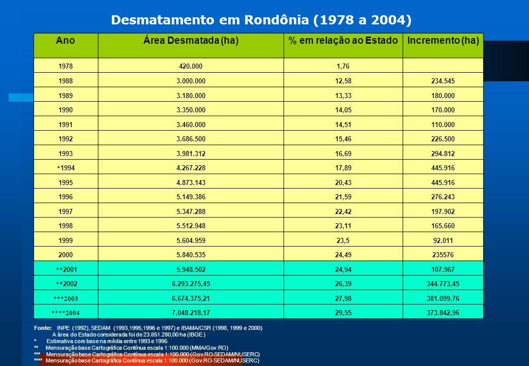 Desmatamento em Rondônia (1978 a 2004)