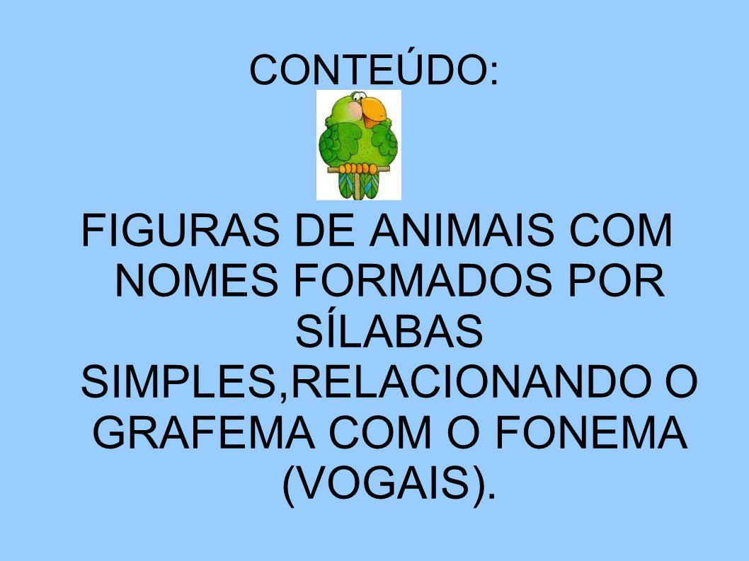 CONTEÚDO: FIGURAS DE ANIMAIS COM NOMES FORMADOS POR SÍLABAS SIMPLES,RELACIONANDO O GRAFEMA COM O FONEMA (VOGAIS).