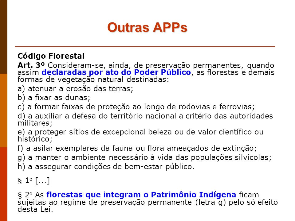 Outras APPs Código Florestal