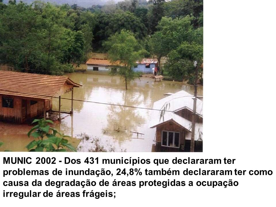 MUNIC 2002 - Dos 431 municípios que declararam ter problemas de inundação, 24,8% também declararam ter como causa da degradação de áreas protegidas a ocupação irregular de áreas frágeis;