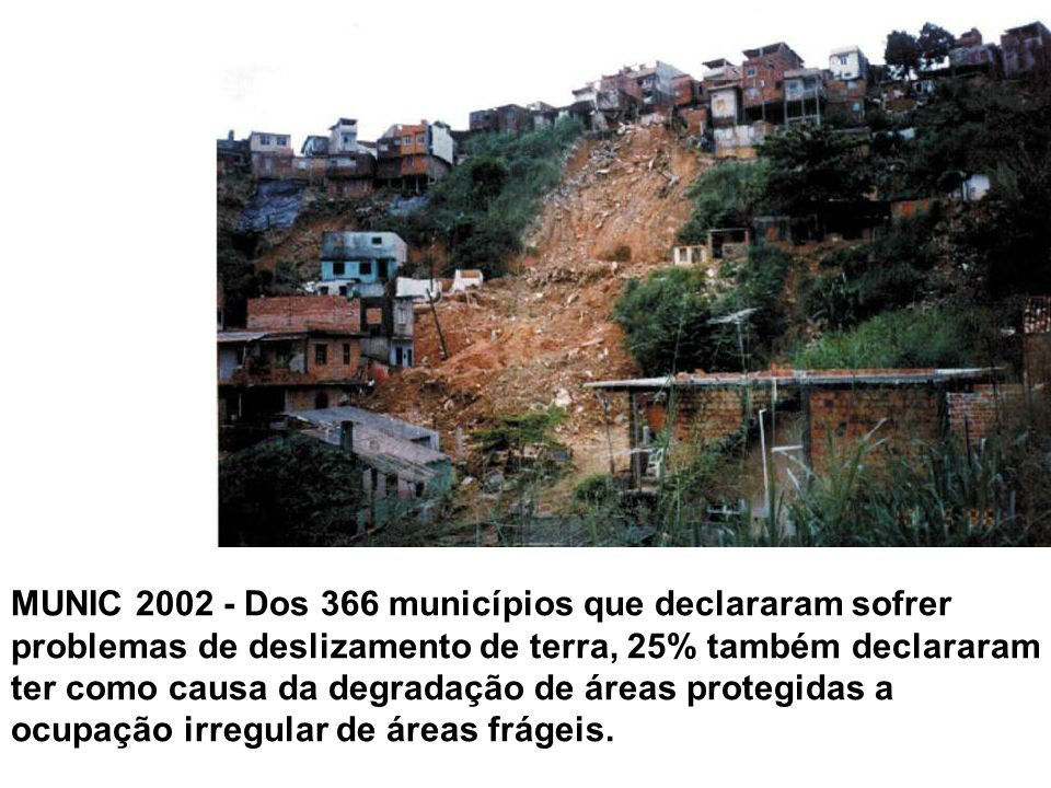 MUNIC 2002 - Dos 366 municípios que declararam sofrer problemas de deslizamento de terra, 25% também declararam ter como causa da degradação de áreas protegidas a ocupação irregular de áreas frágeis.