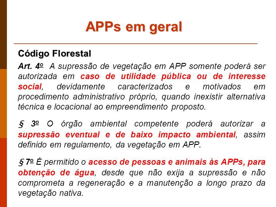 APPs em geral Código Florestal