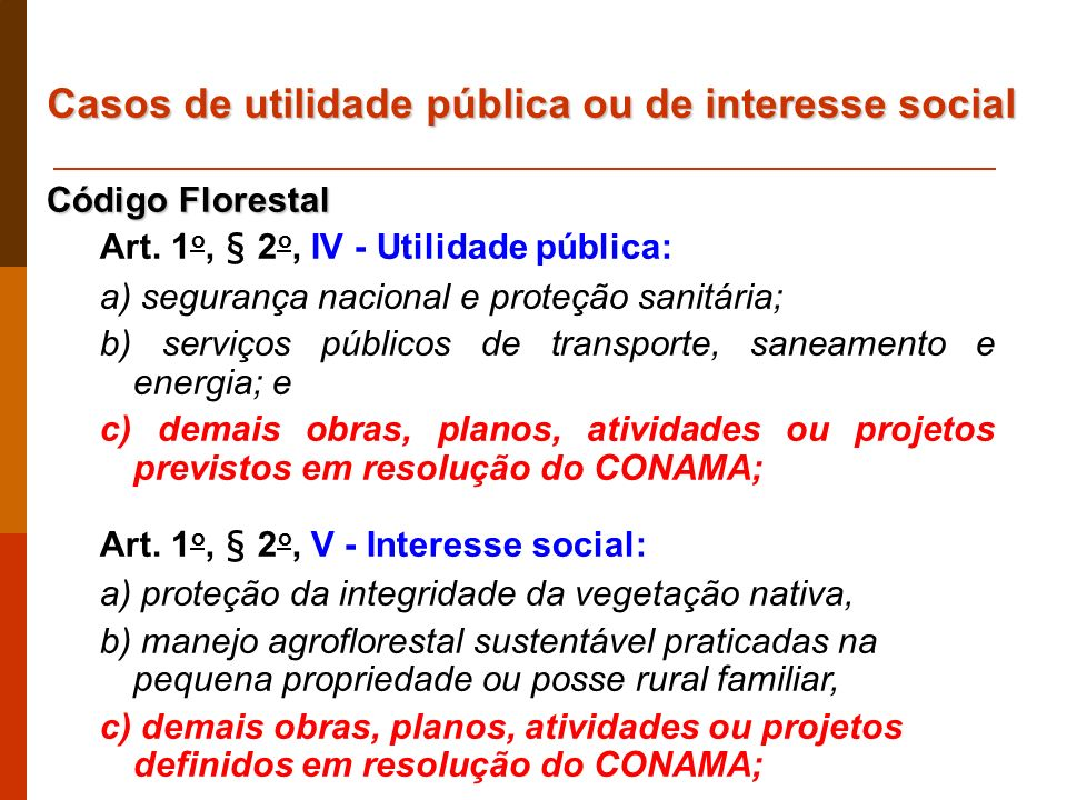Casos de utilidade pública ou de interesse social