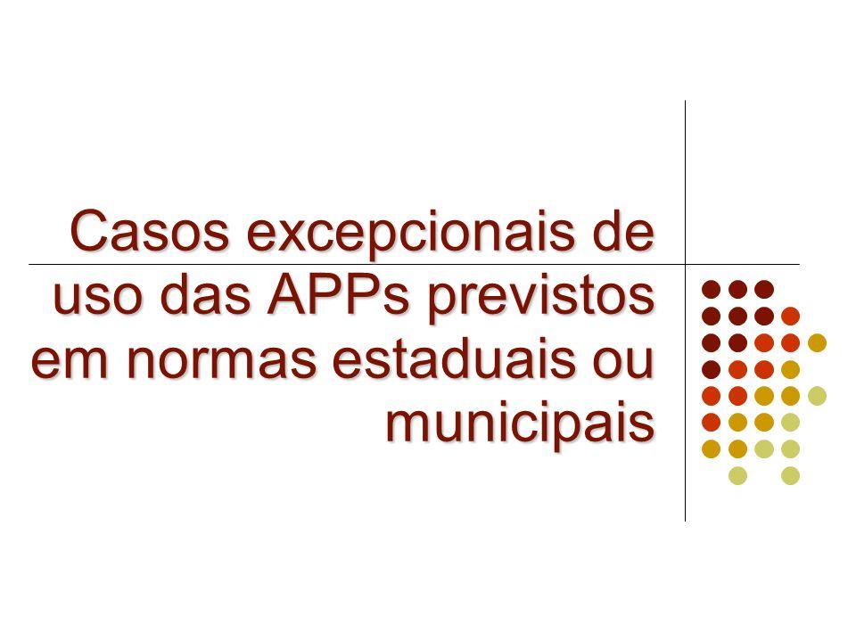 Casos excepcionais de uso das APPs previstos em normas estaduais ou municipais