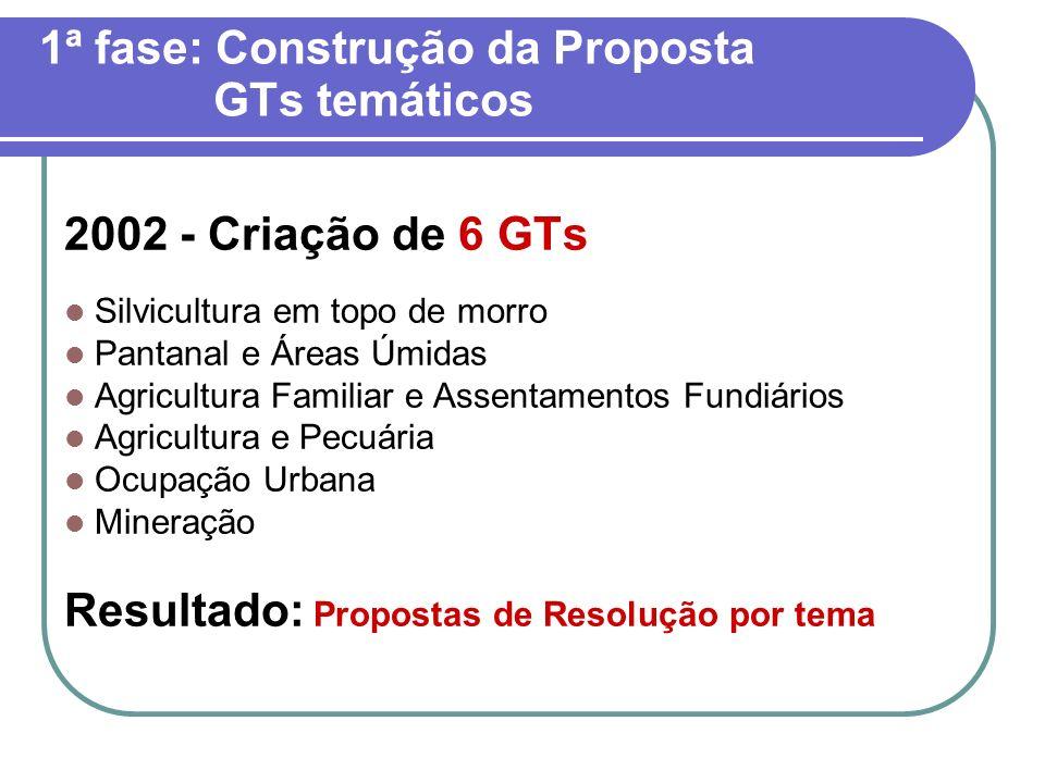 1ª fase: Construção da Proposta GTs temáticos