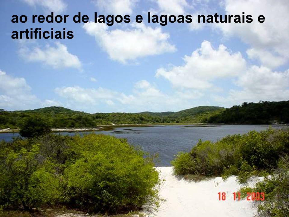 ao redor de lagos e lagoas naturais e artificiais