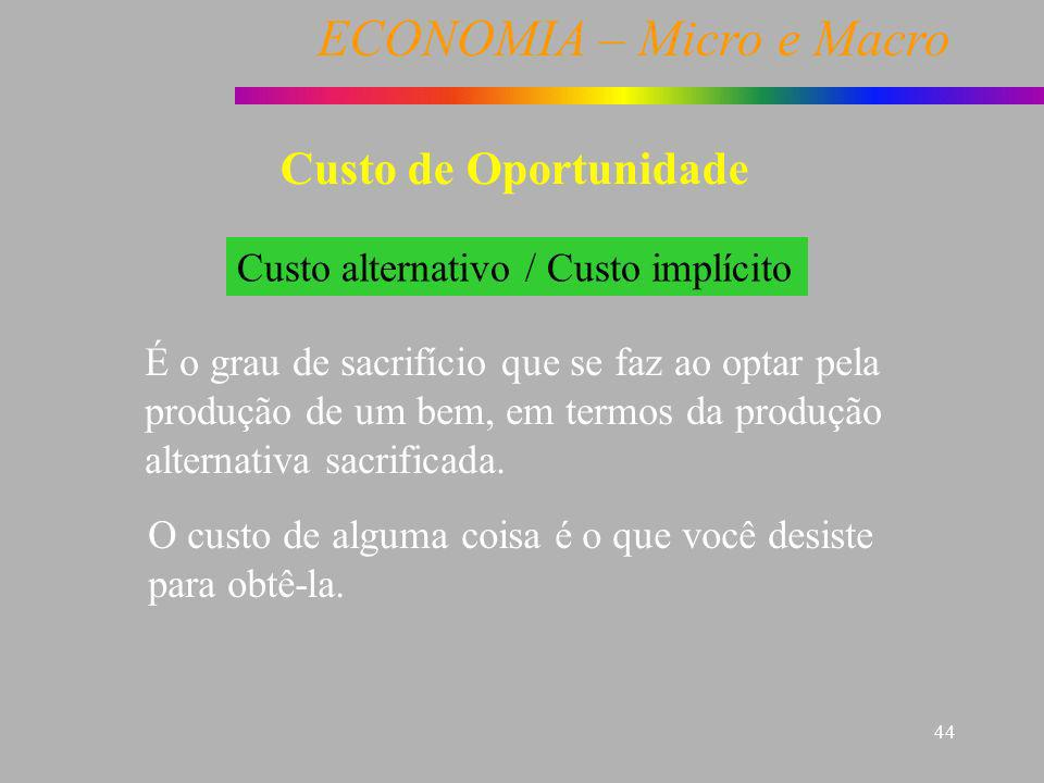 Custo de Oportunidade Custo alternativo / Custo implícito
