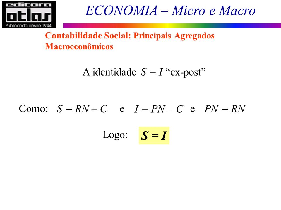 S = I A identidade S = I ex-post Como: e e S = RN – C I = PN – C