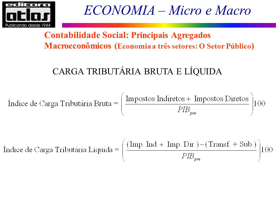 CARGA TRIBUTÁRIA BRUTA E LÍQUIDA