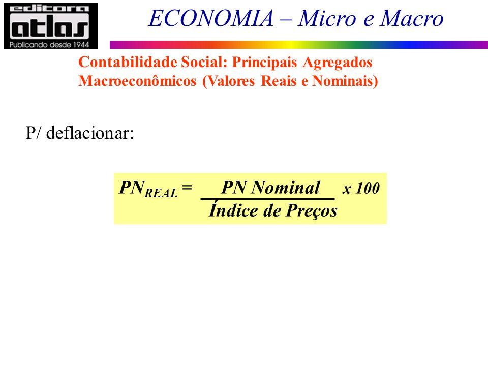 P/ deflacionar: PNREAL = PN Nominal x 100 Índice de Preços