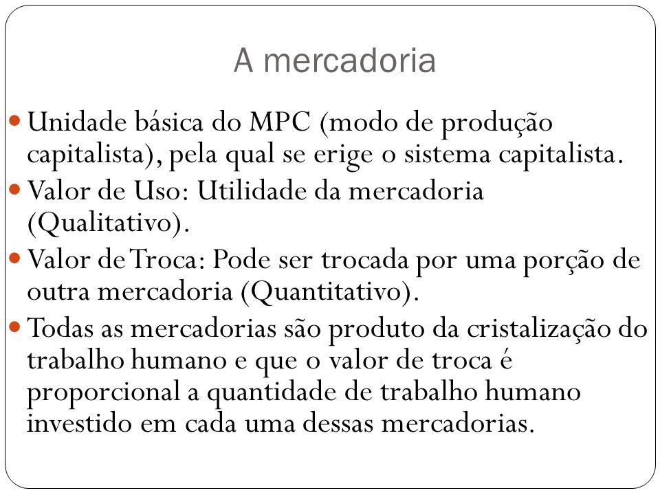 A mercadoria Unidade básica do MPC (modo de produção capitalista), pela qual se erige o sistema capitalista.