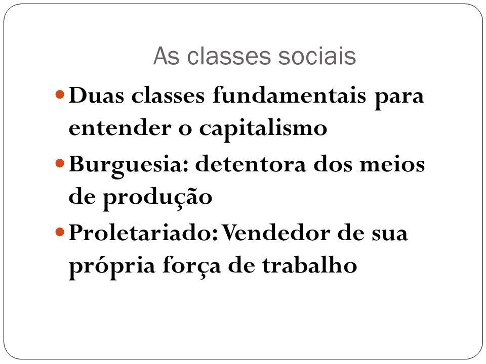 As classes sociaisDuas classes fundamentais para entender o capitalismo. Burguesia: detentora dos meios de produção.