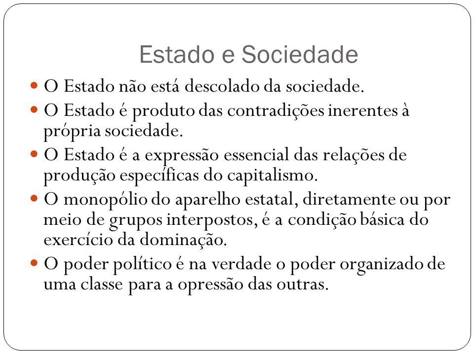 Estado e Sociedade O Estado não está descolado da sociedade.
