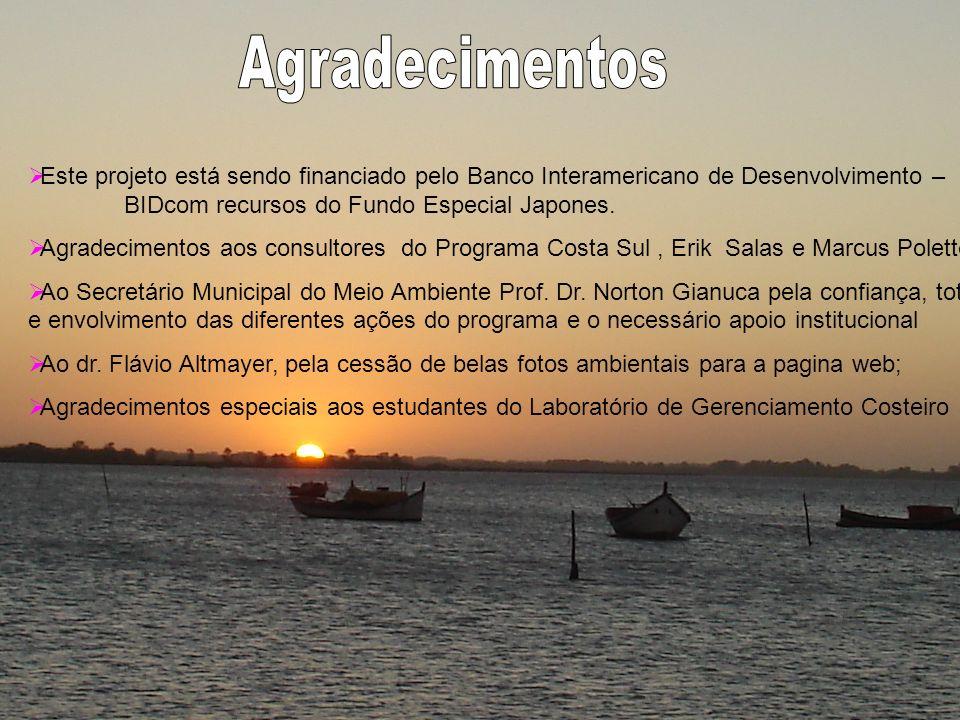 Agradecimentos Este projeto está sendo financiado pelo Banco Interamericano de Desenvolvimento – BIDcom recursos do Fundo Especial Japones.