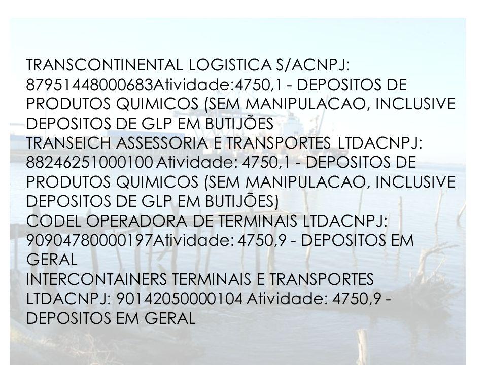 TRANSCONTINENTAL LOGISTICA S/ACNPJ: 87951448000683Atividade:4750,1 - DEPOSITOS DE PRODUTOS QUIMICOS (SEM MANIPULACAO, INCLUSIVE DEPOSITOS DE GLP EM BUTIJÕES