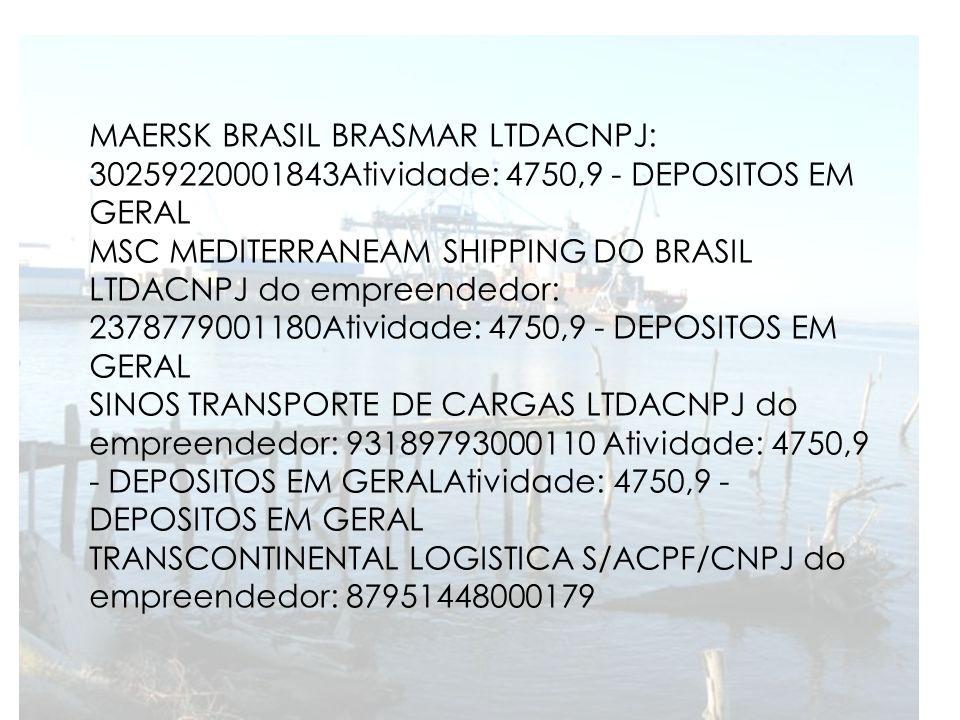 MAERSK BRASIL BRASMAR LTDACNPJ: 30259220001843Atividade: 4750,9 - DEPOSITOS EM GERAL