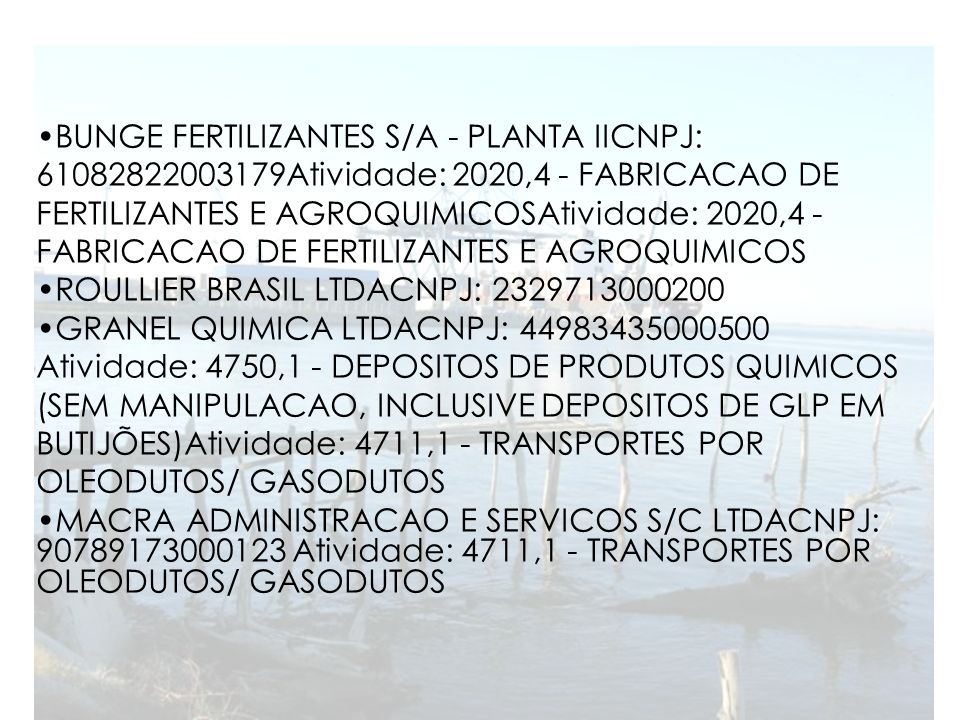 BUNGE FERTILIZANTES S/A - PLANTA IICNPJ: 61082822003179Atividade: 2020,4 - FABRICACAO DE FERTILIZANTES E AGROQUIMICOSAtividade: 2020,4 - FABRICACAO DE FERTILIZANTES E AGROQUIMICOS