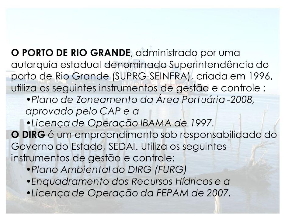 O PORTO DE RIO GRANDE, administrado por uma autarquia estadual denominada Superintendência do porto de Rio Grande (SUPRG-SEINFRA), criada em 1996, utiliza os seguintes instrumentos de gestão e controle :