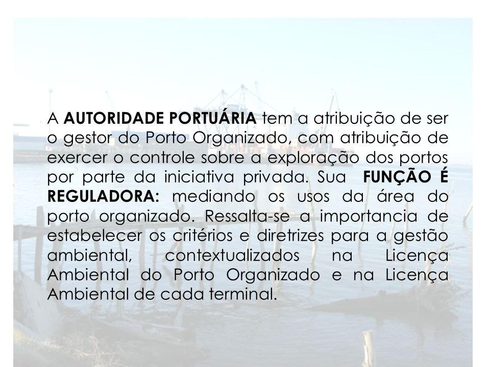 A AUTORIDADE PORTUÁRIA tem a atribuição de ser o gestor do Porto Organizado, com atribuição de exercer o controle sobre a exploração dos portos por parte da iniciativa privada.