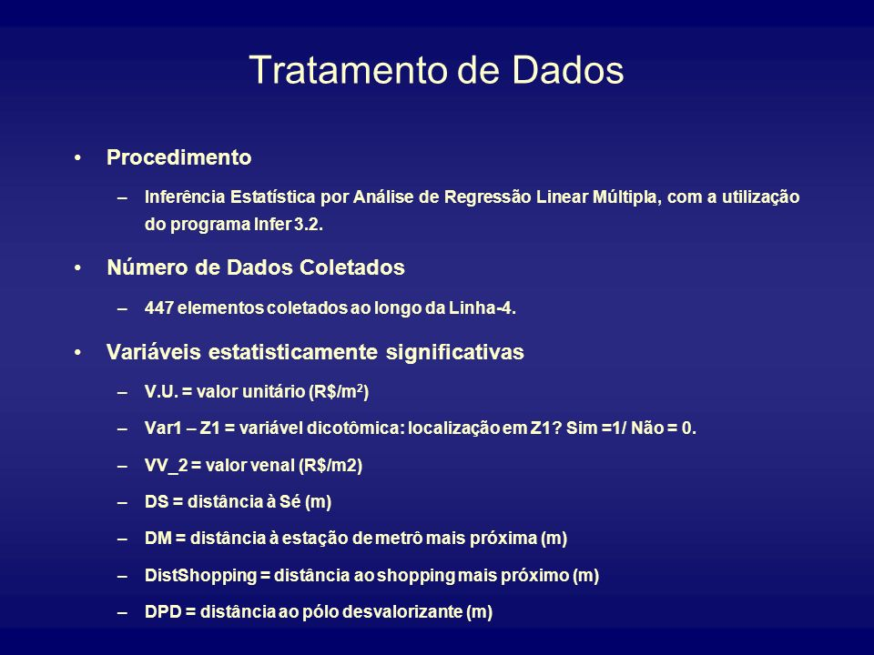 Tratamento de Dados Procedimento Número de Dados Coletados