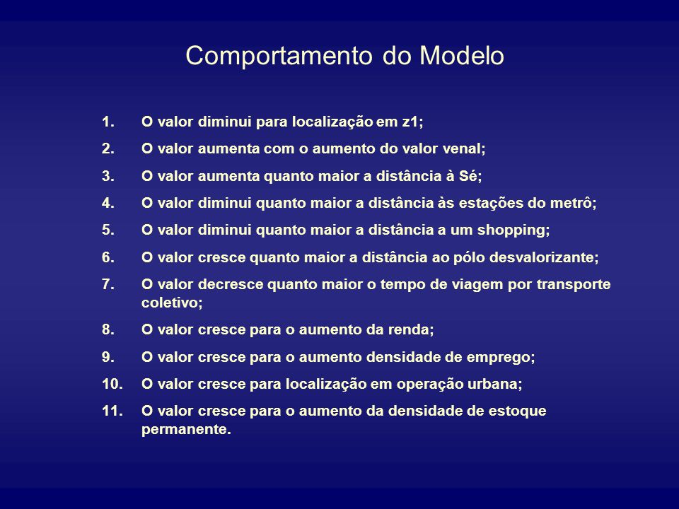 Comportamento do Modelo
