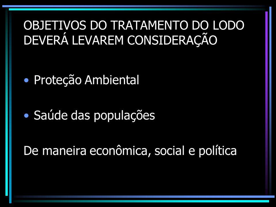 OBJETIVOS DO TRATAMENTO DO LODO DEVERÁ LEVAREM CONSIDERAÇÃO