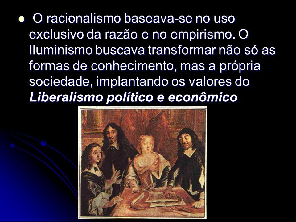 O racionalismo baseava-se no uso exclusivo da razão e no empirismo