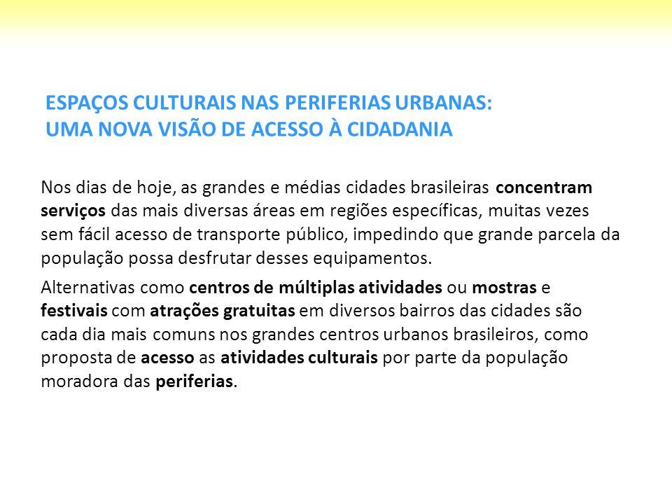 ESPAÇOS CULTURAIS NAS PERIFERIAS URBANAS: