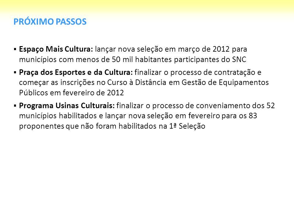 PRÓXIMO PASSOSEspaço Mais Cultura: lançar nova seleção em março de 2012 para municípios com menos de 50 mil habitantes participantes do SNC.