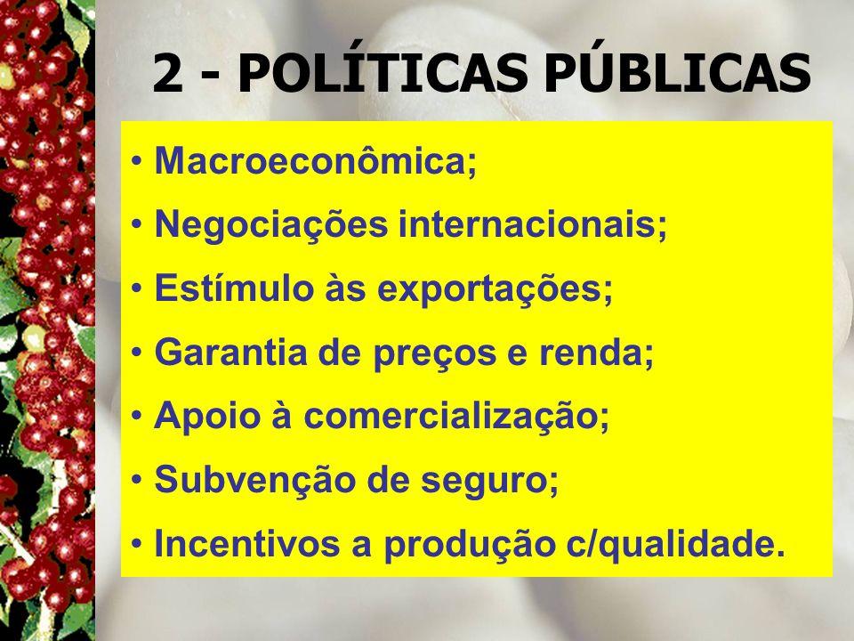 2 - POLÍTICAS PÚBLICAS Macroeconômica; Negociações internacionais;