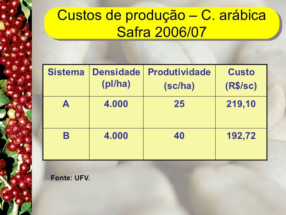 Custos de produção – C. arábica Safra 2006/07